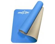 Коврик для йоги Star Fit TPE 173x61x0,4см синий/серый