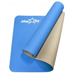 Коврик для йоги Star Fit TPE 173x61x0,4см синий/серый в интернет-магазине