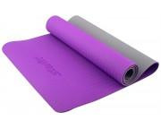 Коврик для йоги Star Fit TPE 173x61x0,5см фиолетовый/серый