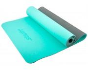 Коврик для йоги Star Fit TPE 173x61x0,6см мятный/серый