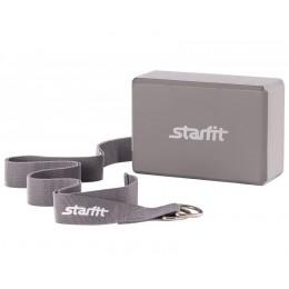 Комплект из блока и ремня для йоги Star Fit FA-104, серый в интернет-магазине