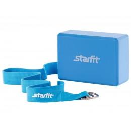 Комплект из блока и ремня для йоги Star Fit FA-104, синий в интернет-магазине