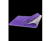 Коврик для йоги FM-201, TPE, 173x61x0,5 см, фиолетовый/серыйStarfit
